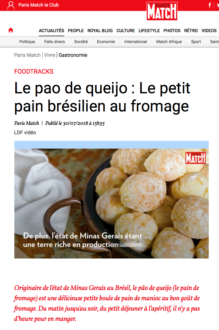 Pao de Queijo , Paris Match 30/07/2018